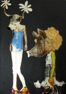 Pig In a Wig 1995 mixed media collage